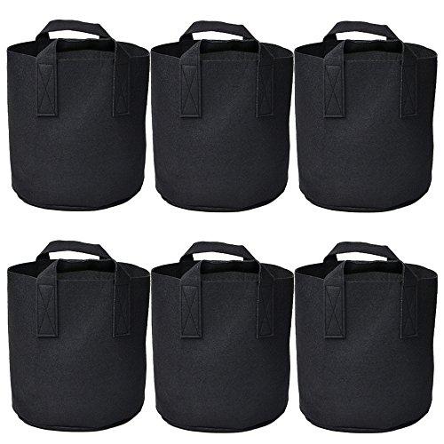 Garden Plant bags / 6-Packs 5 Gallon Grow Bags /Aeration Fabric Pots /Handles (Black)