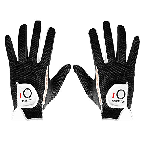 FINGER TEN Men's Golf Glove Rain Grip Pair Both Hand