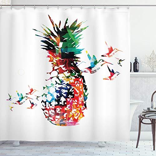 ABAKUHAUS Duschvorhang, Abstraktes Bunte Ananas die in Zerstreuten Vogel Flug Modernen Abstrakten Druck Sprengt Druck, Blickdicht aus Stoff inkl. 12 Ringe für Das Badezimmer Waschbar, 175 X 200 cm