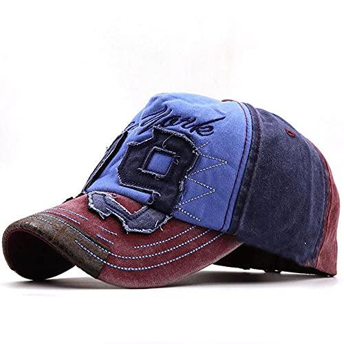 AOQW Vintage Lavado Denim Sombreros Snapback Béisbol Streetwear Hip Hop Caps Casquette Trucker Sombrero Tenis Corriendo Senderismo Camping Pesca Accesorios De Ropa Deportiva-Azul Marino