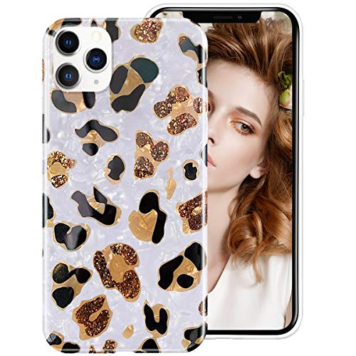 iDLike for iPhone 12 Pro Max Case for Women Girls, Leopard Cheetah Print Pattern Cute Design Soft Silicone Protective Phone Case Cover for iPhone 12Pro Max 6.7,White/Leopard