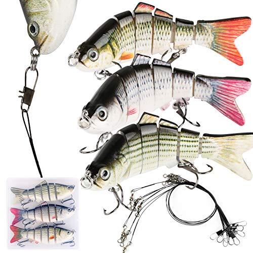 Leurres de Pêche Articulés 3PCS avec Bas de Ligne avec Boîte de Rangement pêche Fil de Pêche Noir Poissons Nageurs Swimbait Glidebait Accessoire (10cm-18g)