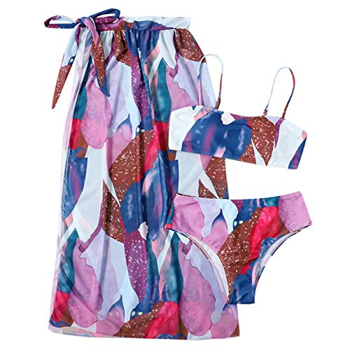 MEITING Damen 3-teiliges Set Bikini Sets,Neckholder Oberteil Bandeau Bademode Push up Bikinis bade Sexy Badeanzug Tanga Bikinis Rock Swimsuit für Frauen Badeanzug Strandmode Monokini Strandbikini