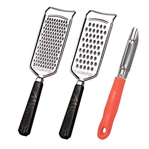 3-piece vegetable peeler steel grater size hole hand-held cheese grater, best for Parmesan cheese fruits and vegetables