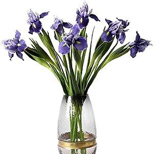 Silk Flower Arrangements Lesrant Artificial Iris Flowers Bouquet Ireland Silk Flowers for Home Wedding Party Decoration (Purple)