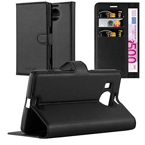 Cadorabo Hülle für Nokia Lumia 950 XL in Phantom SCHWARZ - Handyhülle mit Magnetverschluss, Standfunktion & Kartenfach - Hülle Cover Schutzhülle Etui Tasche Book Klapp Style