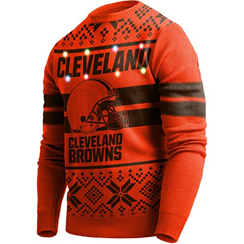 Forever Collectibles Majestic NFL Ugly Sweater Cleveland Browns Pullover Big Logo 2-Stripe-Light LED Beleuchtung (XL)
