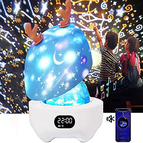 DX Proyector de Luz Noche Para NiñOs Estrella Luzbebé con Caja MúSica Altavoz Bluetooth, RotacióN 360 ° Regalos CumpleañOs HabitacióN Bebé,LluminacióN Dormitorio NiñOs NiñA 1 a 14 AñOs