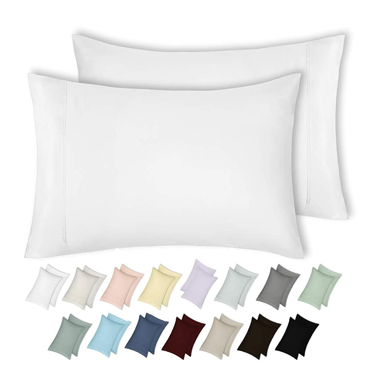 400 Thread Count 100% Cotton Pillow Cases, Pure White Standard Pillowcase Set of 2, Long-Staple Combed Pure Natural Cotton Pillows for Sleeping, Soft & Silky Sateen Weave Bed Pillow Covers qemsvmk72