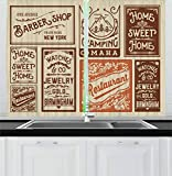 Ambesonne Old Newspaper Kitchen Curtains, Various Advertisement Signs Barber Shop Restaurant Camping Retro Style, Window Drapes 2 Panel Set for Kitchen Cafe Decor, 55' X 39', Orange Brown