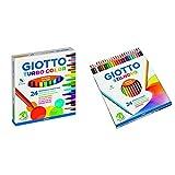 giotto, 24 pennarelli giotto turbo & giotto stilnovo pastelli colorati in astuccio 24 colori