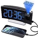 radiosveglia digitale da comodino,sveglia proiettore con 0-100% dimmer luminosità,doppio allarme con 5 suoni,180° di rotazione orologio proiettore 30 fm radio con adattatore per camera da letto