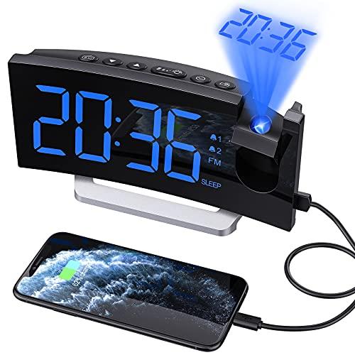 Radiosveglia Digitale da Comodino,Sveglia Proiettore con 0-100% Dimmer Luminosità,Doppio Allarme...