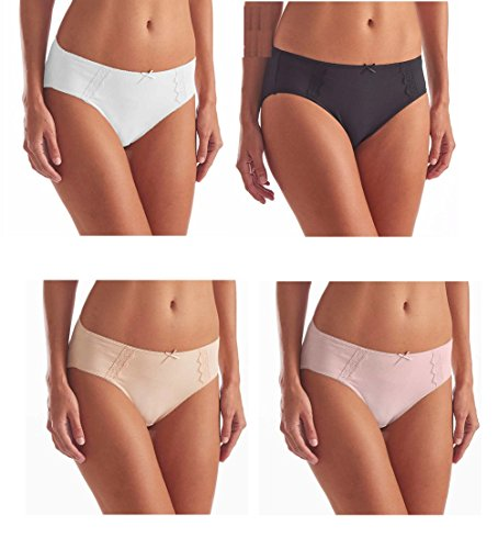 Hi- Cut Underwear Brushed Microfiber With Lace - Ultra Soft Comfort- 4 Pack (Small, Assorted 4 Colors)