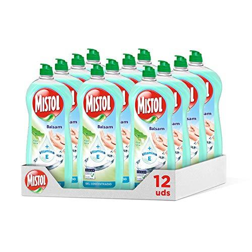 Mistol Aloe Vera - Lavavajillas líquido a mano concentrado 650 ml, Pack de 12 Unidades
