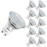 Bombillas LED GU10 en Blanco cálido, 2700 Kelvin | 600 lúmenes | reflectora | 5 W, equivalentes a 60 W halógenos | Paquete de 10
