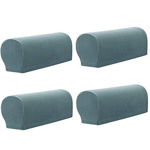 LucaSng Funda para sillón antideslizante, protector para reposabrazos de sofá, protector de muebles, juego de 4 (azul claro)