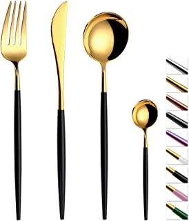 TD HOME 24 pieces Cutlery Set Mirror Polish Stainless Steel Flatware Silverware Set Service for 6 Black & Gold