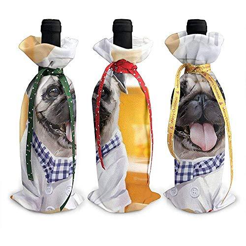 BK Creativity Christmas Wine Bottle Cover,Lustige Weihnachtsdekorations-Verzierungen des Chef-Bild-Mops-Hund3Pcs Für Feiertags-Dekoration