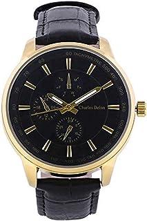 Charles Delon Mens Quartz Watch, Analog Display and Leather Strap 5720 GGBB