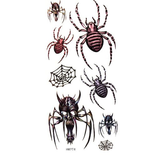 MicroDeal Waterproof and sweat of the spider / skull temporary tattoo stickers