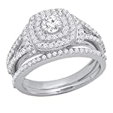 Dazzlingrock Collection 1.00 Carat (Ctw) 14K Round Diamond Ladies Bridal Halo Engagement Ring Set 1 CT, White Gold, Size 7