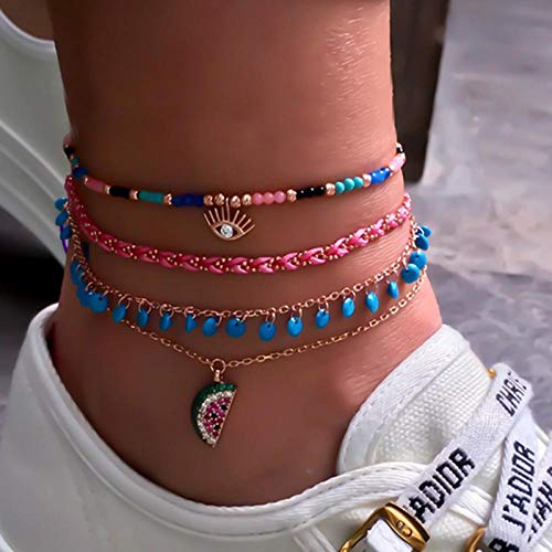 U/N 4 Pieces/Set Weaving Rice Beads Cactus Shell Travel Party Anklet