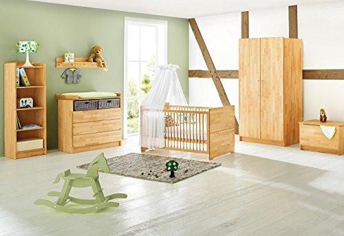 Pinolino Kinderzimmer Natura breit, 3-teilig, Kinderbett (140 x 70 cm), breite Wickelkommode mit Wickelansatz und Kleiderschrank, Buche massiv, geölt (Art.-Nr. 10 21 74B)