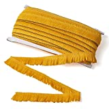 Beadthoven - Borla de flecos dorados, 25 mm x 27 yardas de encaje de fibra con flecos, cinta bordada para coser boda, vestido latino, decoración de ropa
