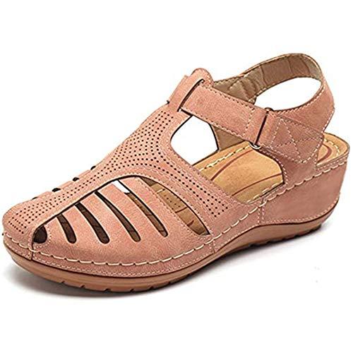 Damessandalen met gesloten neus, Holle vintage sandalen uit Casual platte sandalen Zomer Dames strand sandaal voor wandelen Rijden Buiten Ademend Antislip,Pink,42