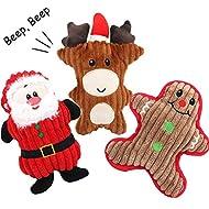 Legendog Christmas Dog Squeak Toys, 3 Pcs Puppy Chew Toys Soft Dog Toy Squeak for Small Medium Dog Pets