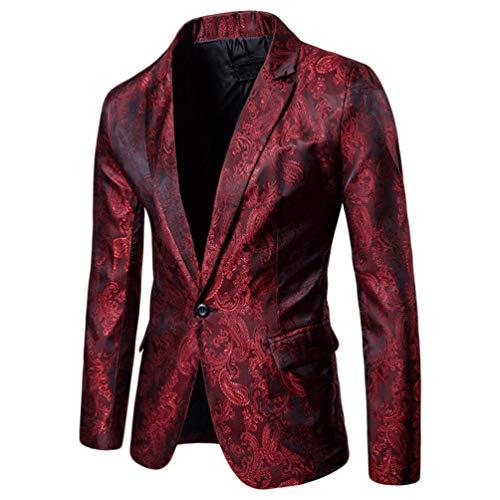 WanYangg Blazer da Uomo Elegante Un Pulsante Giacca da Blazer da Party Stampa Scura Stile Palazzo Fantasia Tempo Libero Slim Fit Blazer da Cerimonia Matrimonio Rosso XL