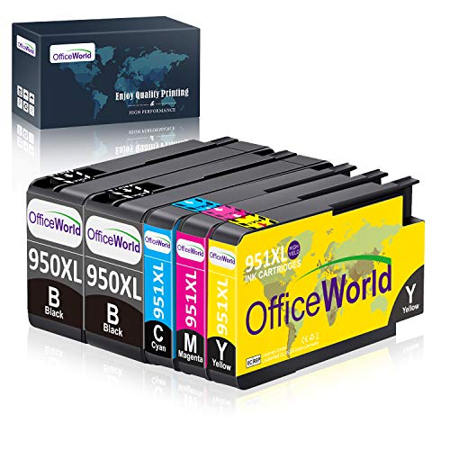 OfficeWorld Replacement for HP 950 951 Ink Cartridges 950XL 951XL Compatible with HP Officejet Pro 8100 8610 8620 8615 8600 8625 8630 8640 8660 251dw 276dw (2 Black, 1 Cyan, 1 Magenta, 1 Yellow)