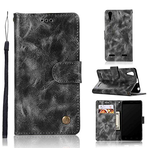 Guran PU Leather Case for Lenovo A6000 Smartphone Flip Cover with Wallet and Stand Functions Vintage leather case Embossed Phone Case - Gray