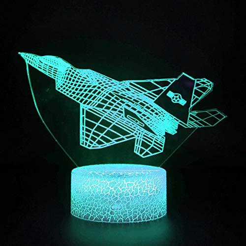Lámpara de noche de ilusión óptica 3D Avión Juguetes Niños Luz de noche 16 colores que cambian con remoto 3D ilusión óptica lámpara de noche como regalo de Navidad regalos de cumpleaños para niños