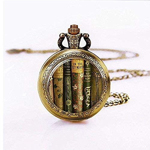 montres de poche pour hommes, montre personnalisée, collier de montre de poche livre bibliothèque, pendentif montre de poche livre, bijoux livre, cadeau pour professeur montre de poche collier, bij