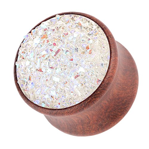 Piercingfaktor Ohr Plug Flesh Tunnel Piercing Ohrpiercing Holz Organic Braun mit Kristall Glitter 18mm Weiß