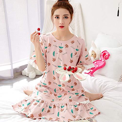 Ensemble Pyjama Femmes,Maison D'Été Doux Coton Cute Cartoon Parapluie Feuille Rose Impression Grande Taille Chemise Décontractée Confortable Lâche Accueil Vêtements Peuvent Être Portés À