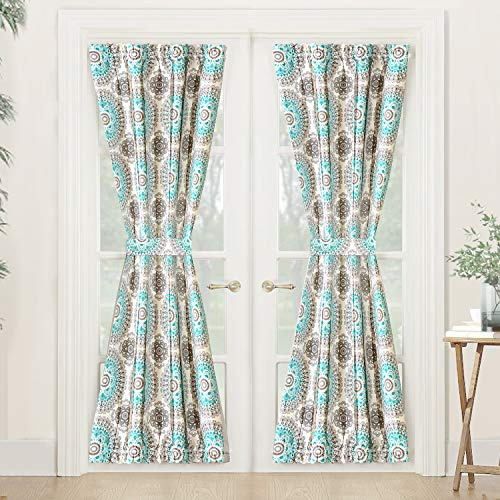DriftAway Bella Door Curtain Sidelight Curtain Thermal Rod Pocket Room Darkening Privacy French Panel Single Curtain with Adjustable Tieback 52 Inch by 72 Inch Plus 1.5 Inch Header Aqua and Gray