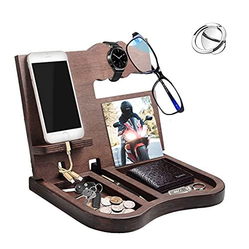 Estación de carga de madera para teléfono móvil, organizador de objetos pequeños, para guardar llaves, teléfono, la mejor idea regalo para cumpleaños, aniversario, con soporte de anillo para teléfono