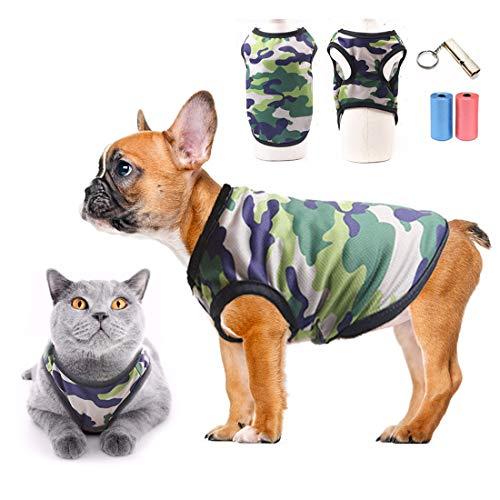 Honden-T-shirts 100% katoen kat hond kleding camo sportshirts zomer mesh ademend hondenvest mode jas huisdier strandkleding voor puppy's kleine honden en katten -gratis training pijp vuilniszak