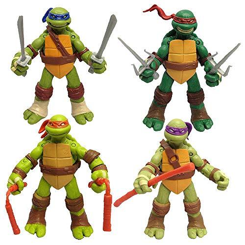 LU-Model 4-Pack Ninja Juguetes Tortue - Figuras Tortugas Ninja Acción 12CM A
