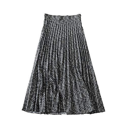 Vrouwen Elegante Gestreepte Geplooide Midi Rok Zijkant Vrouwelijke Casual Vintage Mid Calf Rok