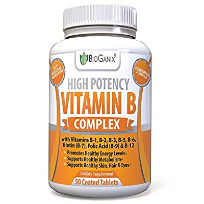 Bioganix Vitamin B Complex Supplement, Vitamin B12, B1, B2, B3, B5, B6, B7 Biotin & B9 Folic Acid, Vegan High Potency Capsules to Boost Energy, Weight Loss, Metabolism, Skin, Hair & Eyes (50 Capsules)
