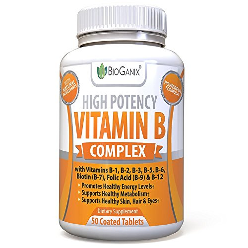 Bioganix Vitamin B Complex Supplement, Vitamin B12, B1, B2, B3, B5, B6, B7 Biotin & B9 Folic Acid, Vegan High Potency Capsules to Boost Energy, Weight Loss, Metabolism, Skin, Hair & Eyes (50 Capsules)