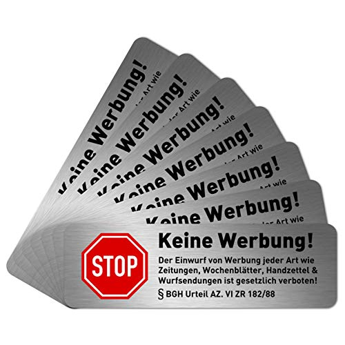 NEU 7 x Keine Werbung Aufkleber für Briefkasten (6,7 x 2,1 cm klein) - Keine kostenlosen Zeitungen und Reklame einwerfen - Briefkastenaufkleber - Selbstklebend - Edelstahl Optik