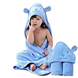 Organic Cotton Fabric Hooded Towel for Kids, Toddler Poncho Towels for Shower Pool Beach Cover Up, 35'x35' Extra Large Baby Bath Robe Wrap, Asorbent Soft Cozy Thick Terry Cute Animal Design (Bear)