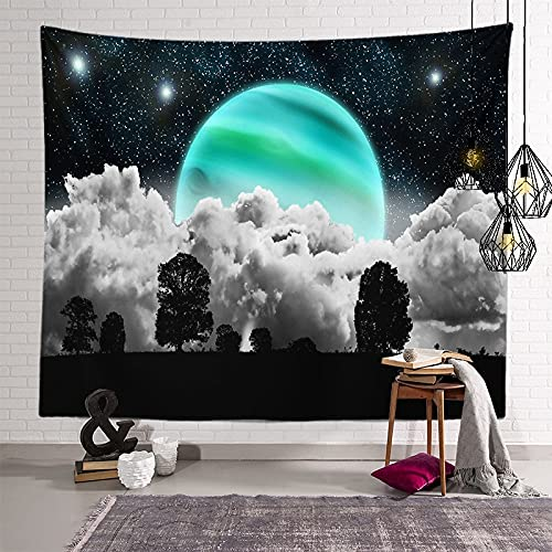 KHKJ Astronaut Planet Tapiz cabecero de Pared Arte Colcha Dormitorio Tapiz para Sala de Estar Dormitorio decoración del hogar A9 200x150cm