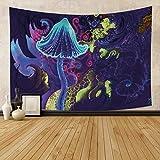 Yhjdcc Tapiz de hada azul brillante con diseño de setas, diseño abstracto para colgar en la pared, arte digital, sala de estar, dormitorio, 150 cm x 200 cm