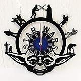Star Wars Vinyl Record Wall Clock | Yoda Wall Decor | Gift for Geeks, Teens, Kids | Living Room Decor | Jedi Merchandise